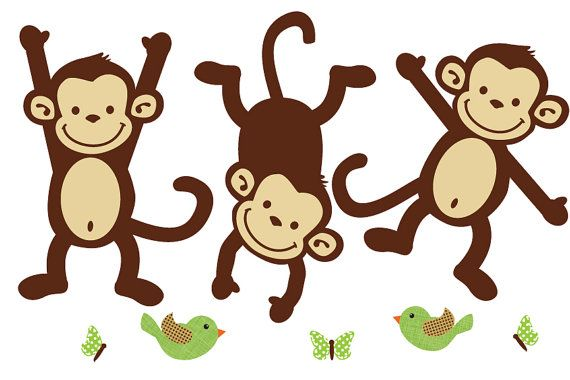 Monkey Wall Decals, Repositionable Monkey Stickers, Nursery Wall Decal Art (animals only) via Etsy