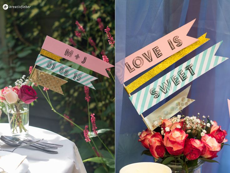 Sweet-Table-Deko-Fähnchen-Gartenhochzeit-DIY-in-gold-mint-blush