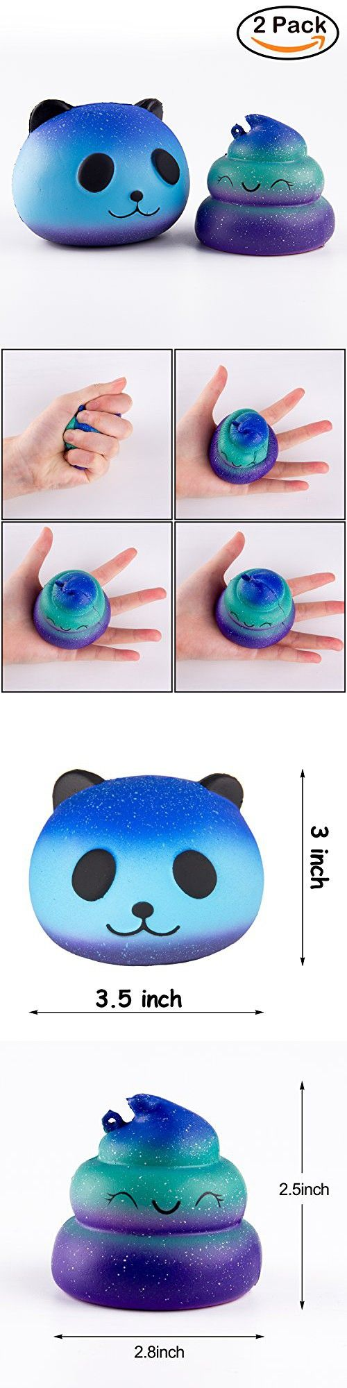 BeYumi Squishy Toys, Star Panda + Emoji Poop Cream Scented Squeeze Kid Toy Starry Charms Toy for Stress Relief, Collection Gift, Decorative props, Hand Toy and Time Killing