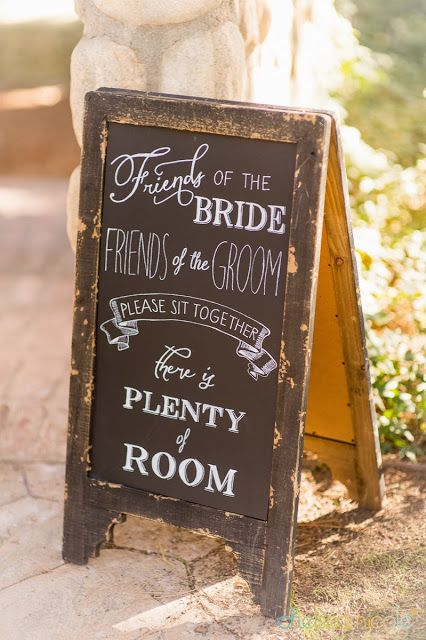"I love this alternative ""sit anywhere"" rustic wedding sign-change to ""here for the bride? Here for the groom?"" Since there is family too"