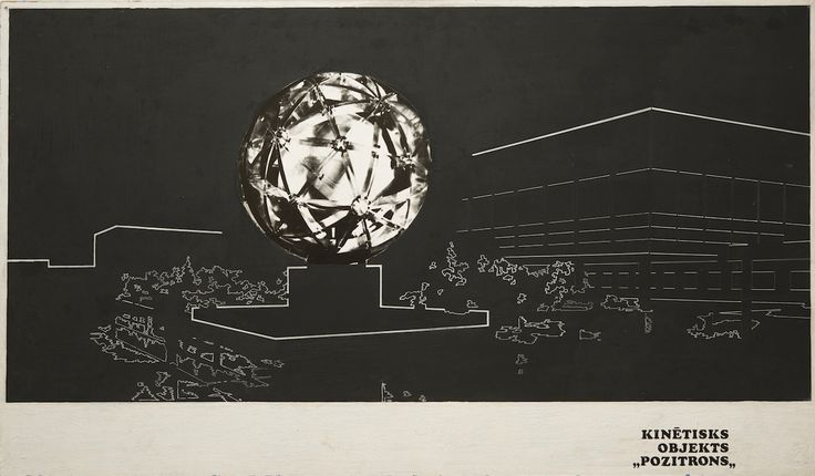 "Valdis Celms, ""View of Positron"" (1977), ink and collaged photograph mounted on fiberboard (courtesy Zimmerli Art Museum, Norton and Nancy Dodge Collection of Nonconformist Art from the Soviet Union, © 2016 Artists Rights Society (ARS), New York / AKKA-LAA, Latvia, photo by Peter Jacobs)"