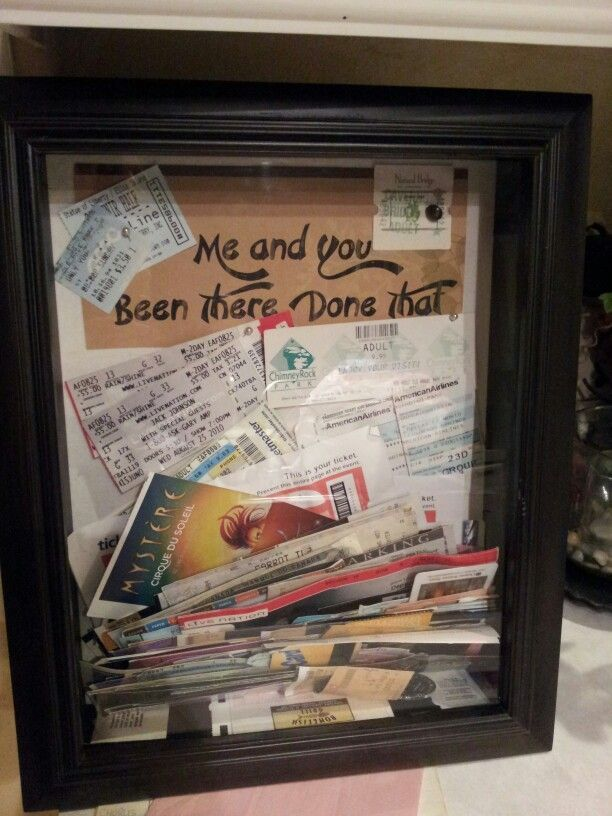 Ticket shadow box ideas