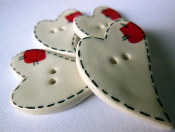 Ceramic White Heart Buttons with Red Patch by ThisOnesMineDesigns, $11.95