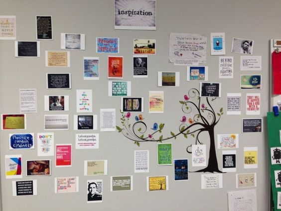 Quote wall in my classroom- throughout the school year my students and I hang quotes that are inspiring, funny, or that we discover in our reading. Sometimes student work makes it on the wall. At the end of the year each student got to choose something fr