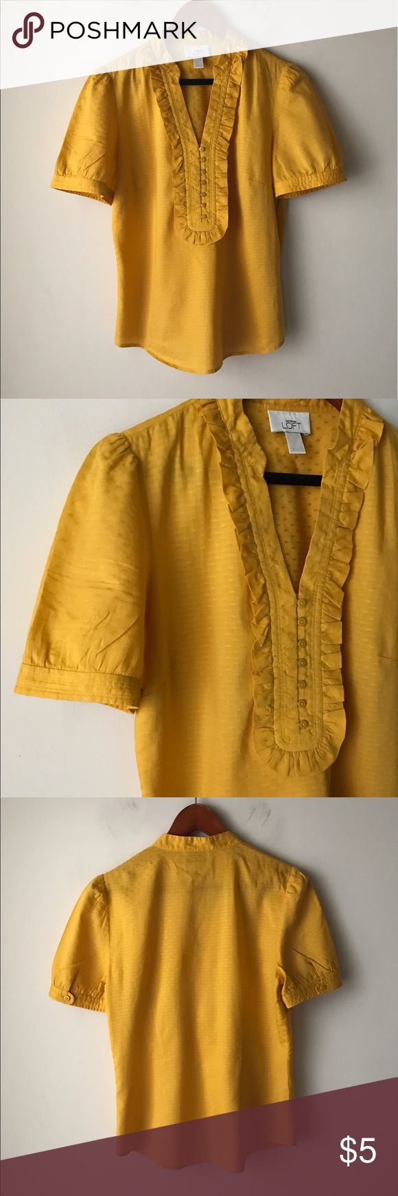 LOFT mustard yellow top Mustard yellow short sleeve top - v neckline - cute ruffle detail - size S LOFT Tops