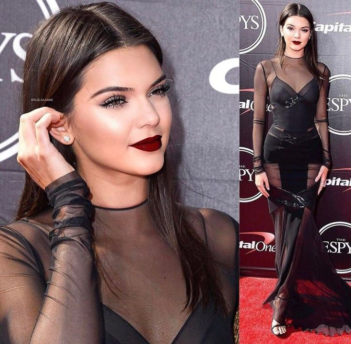 Kendall Jenner us so gorgeous. Dark red lips, sleek hair, and sheer black dress. To die for  #wcw