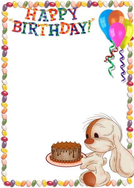 Wonderful Happy Birthday Kids Transparent Photo Frame With Cute Bunny