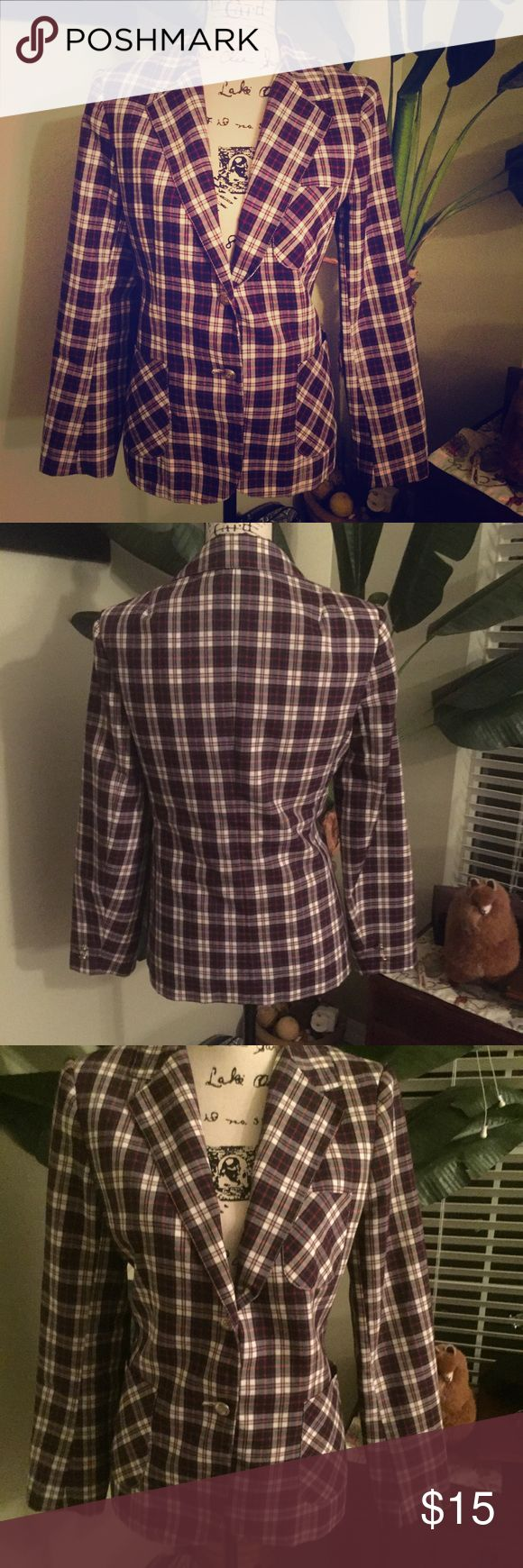 Vintage Plaid Barclay Square Prep School Blazer Vintage Plaid Barclay Square Prep School Blazer. Then Sz 10 Fits a 6/8 now. Light weight and fully lined. Good condition Authentic Original Vintage Style Jackets & Coats Blazers