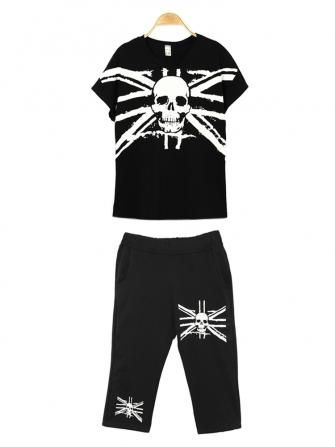 Fashion Women Casual Skull Pattern Loose Cotton Track Suit