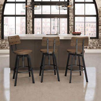 Amisco – Tabouret réglable Woodland en métal noir et en bois brun