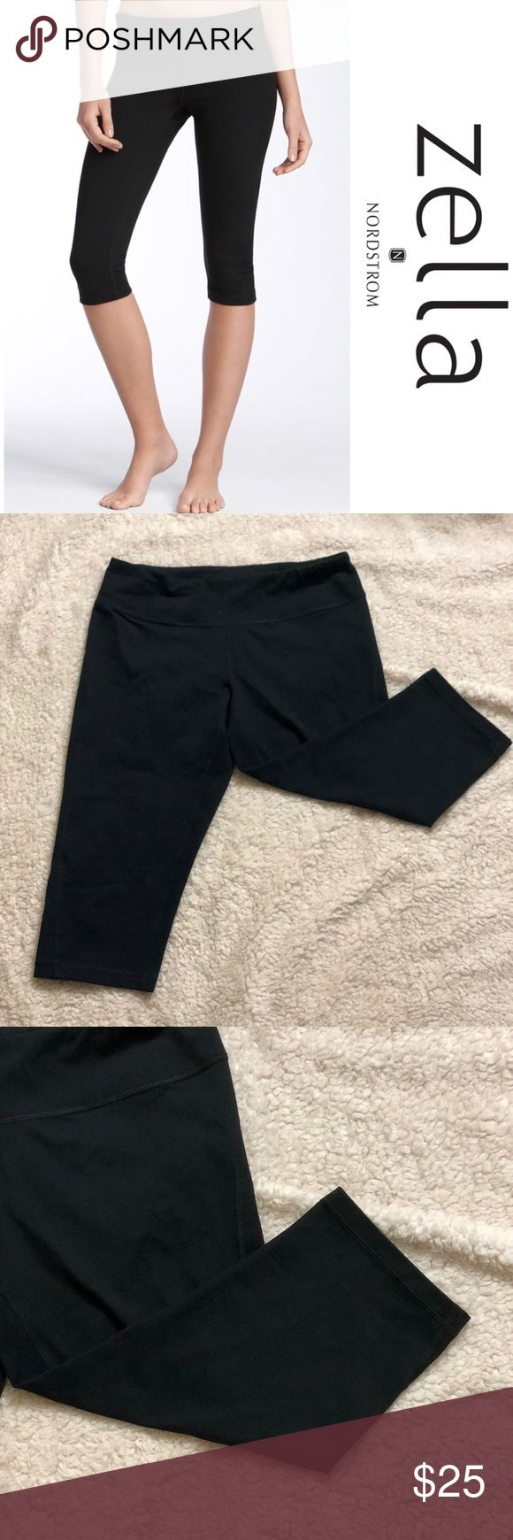 "Zella Live In Capri Pants -M Lean capri leggings, ideal for working out or wearing out, are cut from a stretchy moisture-wicking knit and are sewn with flatlock seaming for a comfortable, chafe-free fit.  Condition: pre-loved, like new  17"" inseam; 12"" leg opening; 8"" front rise; 13"" back rise (size Medium). Hidden waistband pocket stashes cash or a key. Moisture-wicking fabric dries quickly to keep you cool and comfortable. Zeltek Ultimate Stretch fabric. 87% polyester, 13% spandex. Machine…"