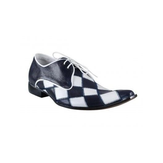 Pánské kožené extravagantní boty modro-bílé PT037 - manozo.cz