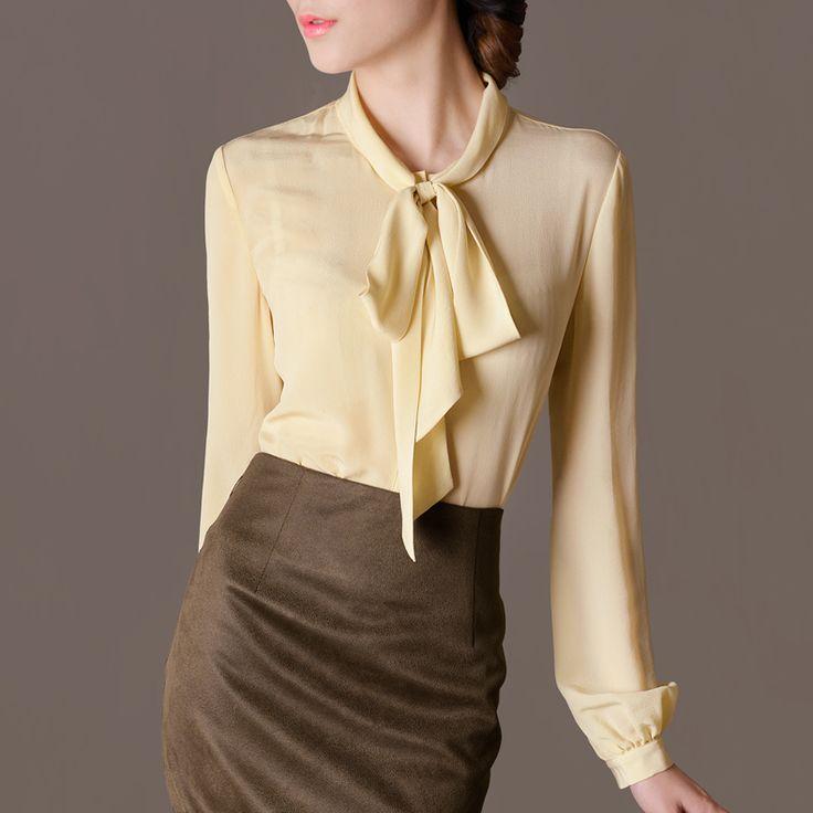 Лето женское причинно блузы элегантный винтажный отложным вниз воротник шелк длинный рукав рубашка женщины купить на AliExpress