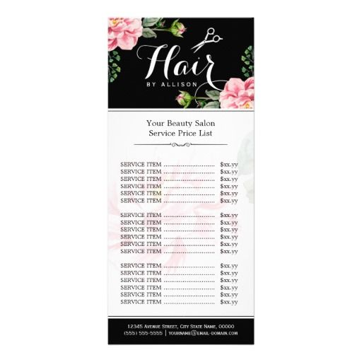 Floral Hair Stylist Modern Beauty Salon Price List Rack Cards