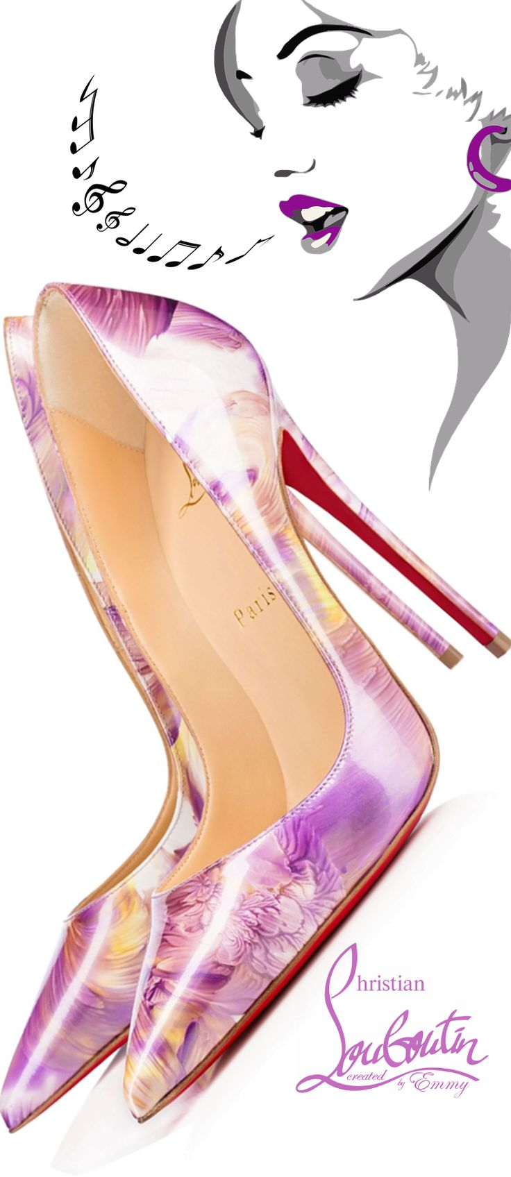 www.ScarlettAvery.com Christian Louboutin So Kate Patent Petale Pumps #louboutinworld #shoeart