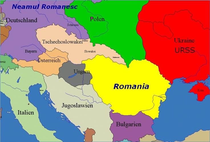 Harta Romaniei din 4 august 1919 in care se poate observa ocupatia romaneasca a Budapestei...