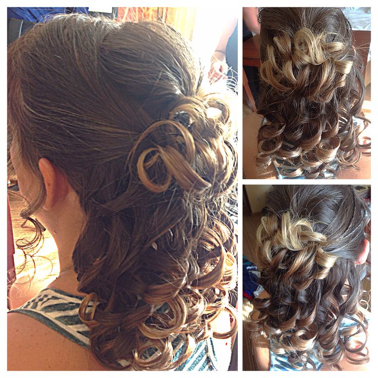curlsbycole hair stylist bridal party brides half up hair updo curls brunette event special day - Freelance Hair Stylist