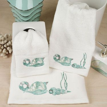 72 best bath collections shell rummel images on - Beach themed bathroom towel sets ...