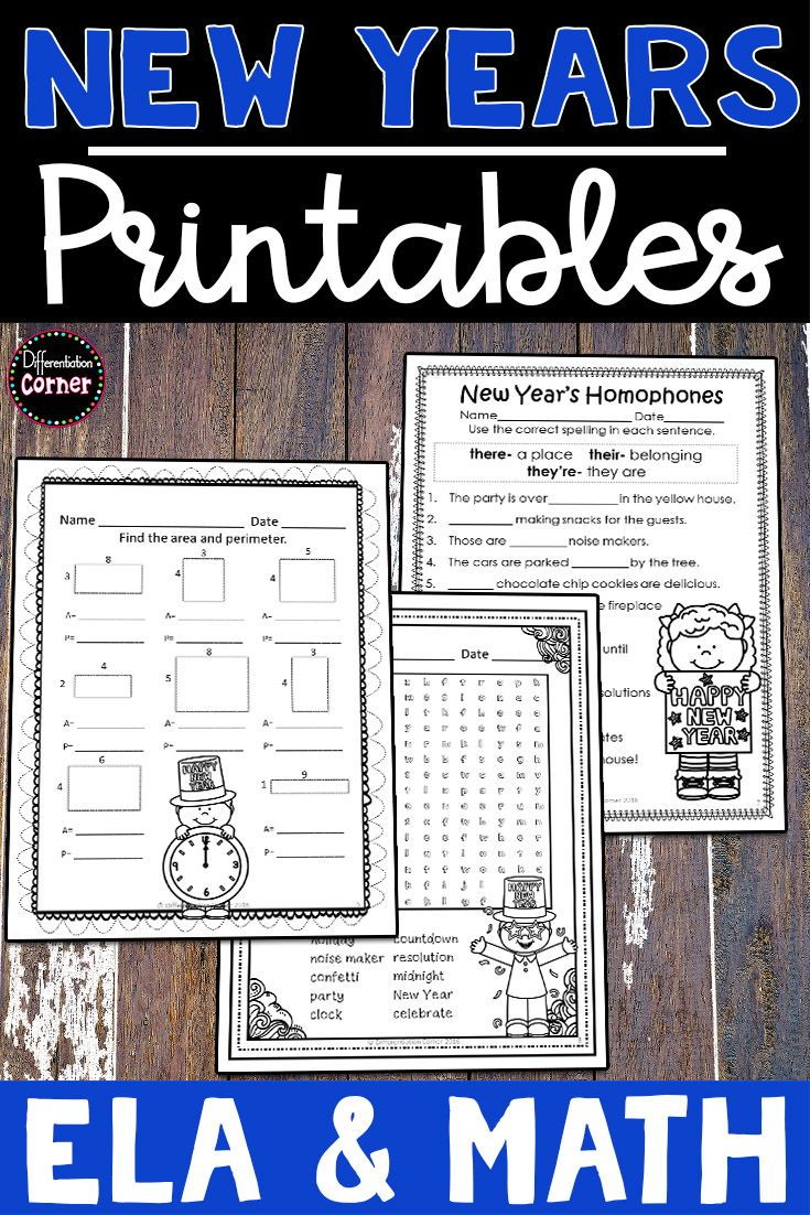 New Year S Math And Literacy Worksheets No Prep Printable Activities Includes A Wide Variet Literacy Worksheets Special Education Visual Elementary Activities [ 1102 x 735 Pixel ]