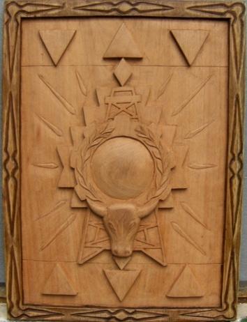 Escudo de la Provincia Cordillera ganador del concurso efectuado por el Comite Civico Provincial en 1991 - Version en Madera