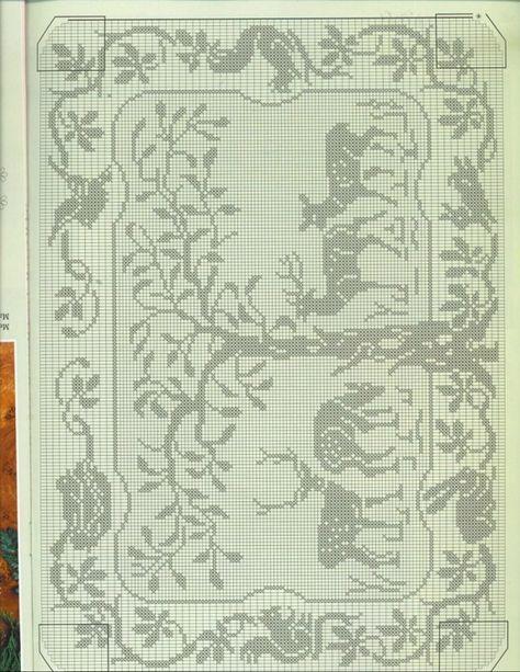 Tree with deer. Rabbit & bird in scrolled border. Gallery.ru / Фото #61 - Filet Crochet pour Point de Croix 2 - Mongia