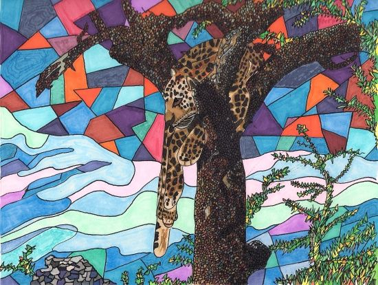 Hangin' Around Art Print  #jaguar #cat #southafrica #SA #catlovers #conversation #endangeredanimals #art #penandink