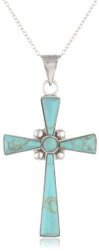 """Sterling Silver Turquoise Inlay Cross Pendant Necklace, 18"""" Amazon Curated Collection,http://www.amazon.com/dp/B0024FAW5C/ref=cm_sw_r_pi_dp_KDUDsb1AQCN3N0M7"""