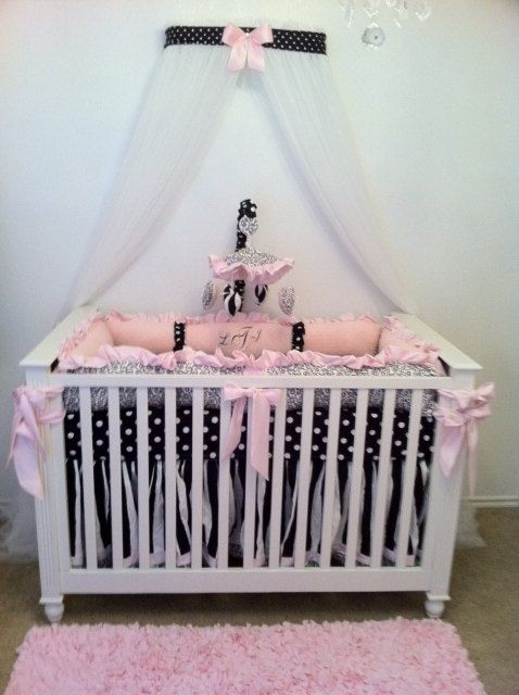 Crib Canopy Crown Nursery Princess Black White Polka Dot Pink Bow With  WHITE SHEERS INCLUDED
