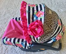 Hot Pink, Leopard, and Watercolor Floral Stripe Infant Car Seat Cover