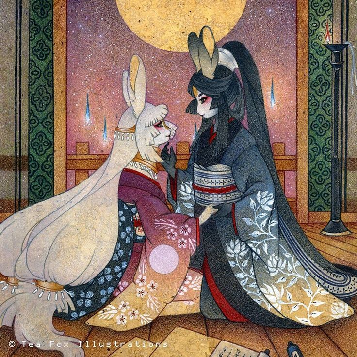 Miri and Akemi. 2016. Mixed media on illustration board. There are some issues I have with the background, but its inspired me to plan my paintings more thoroughly now. #teafoxillustrations #teakitsune #art #artistsoninstagram #traditionalart #mixedmedia #coloredpencil #painting #illustration #drawing #rabbitgirl #moonrabbit #usagi #tsukinousagi #yokai #japaneseart #anthroart #furryart #originalcharacter