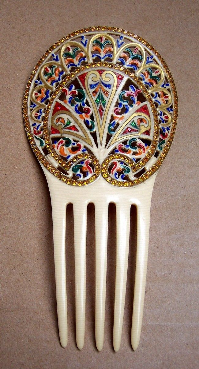 Egyptian Revival Hair Comb with Multi Coloured Enamel and Rhinestones