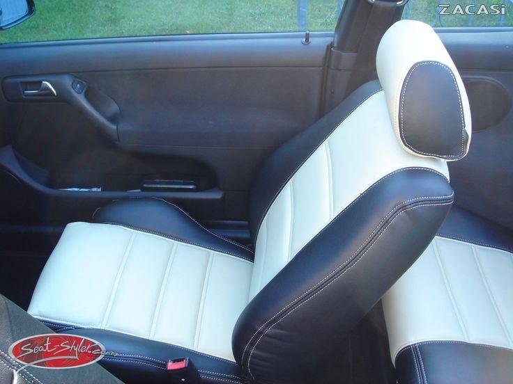 Design der Sitzbezüge: Design Dubai: Leder-Optik (ZACASi Lederimitat) schwarz / hellbeige - Design Kopfstütze - Tri-Color  #VW #golf #3 #cabrio #ledersitzbezüge #zacasi #white #black #konfigurator #design