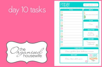 {The Organised Housewife} 20 Days to Organise and Clean your Home - Day 10 tasks