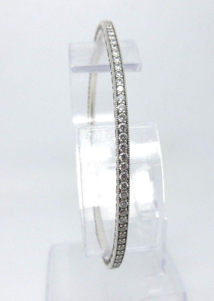 Authentic PANDORA Ale TWINKLE FOREVER BANGLE BRACELET 925 Silver w/ CZ's 590511 #PANDORA #Bangle