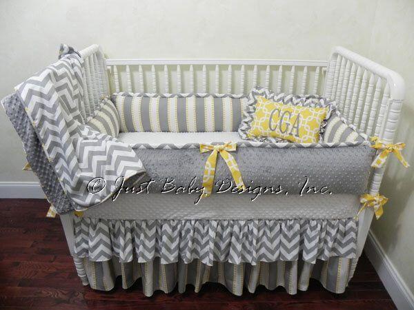 Custom Crib Bedding Set Campbell - Neutral Baby Bedding, Boy Crib Bedding, Girl Crib Bedding, Gray and Yellow Baby Bedding by BabyBeddingbyJBD on Etsy https://www.etsy.com/listing/169166736/custom-crib-bedding-set-campbell-neutral
