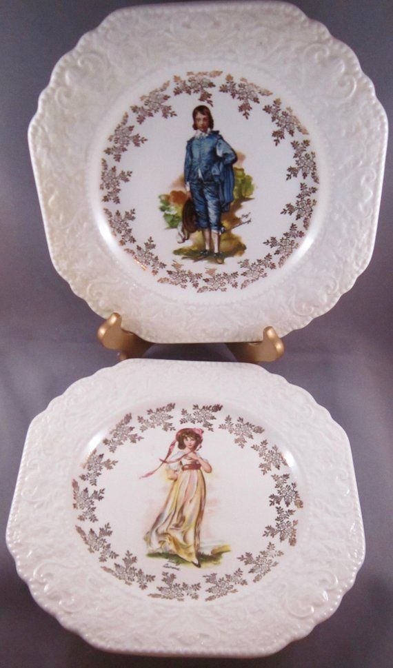 Lord Nelson Pottery Display Plates Boy Blue And Pinky 8 In Vintage England Pottery Display Plate Display Blue Boy Painting