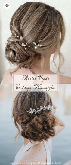 100 Most Enchanted Rustic Wedding Hairstyles---elegant updo hairdos with delicate headwear for spring weddings. Click to get more inspirations!  100 M...