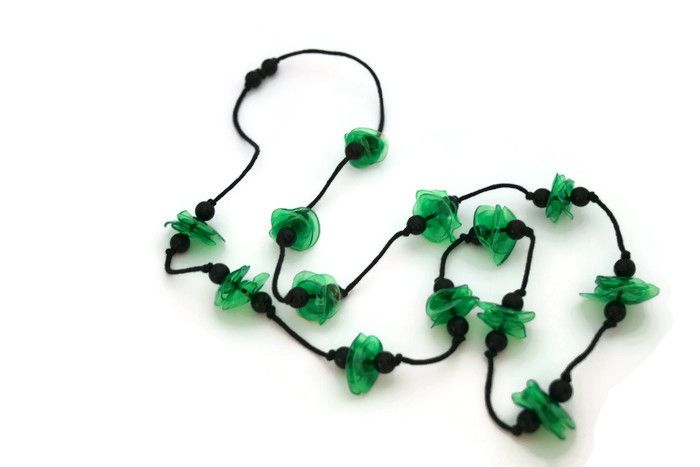 Long green upcycled necklace