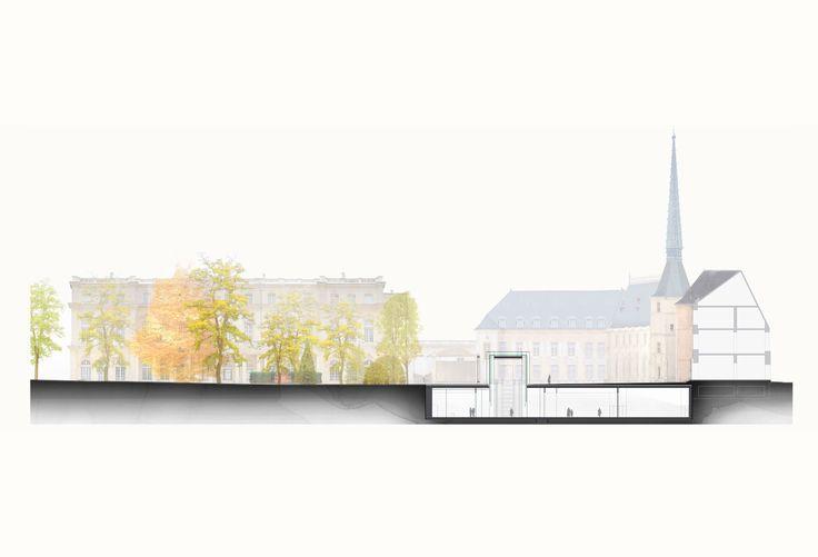 RCR BEAUDOUIN ARCHITECTES MUSÉE LORRAIN NANCY COUPE TRANSVERSALE CC