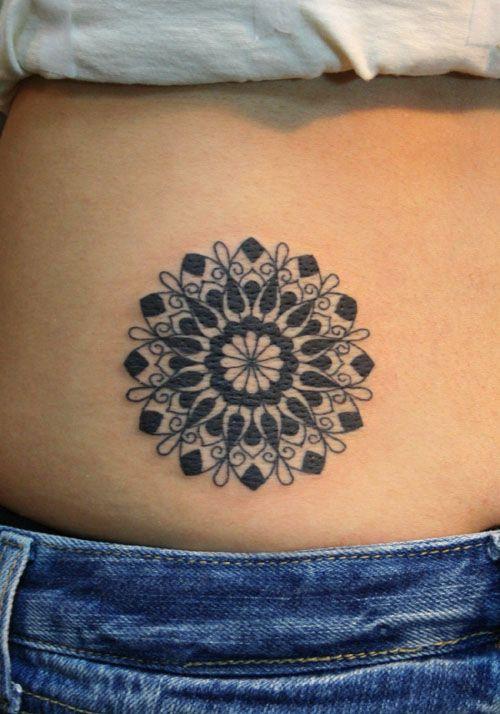 Geometric Flower Tattoo: Black Geometric Flower Tattoo Side
