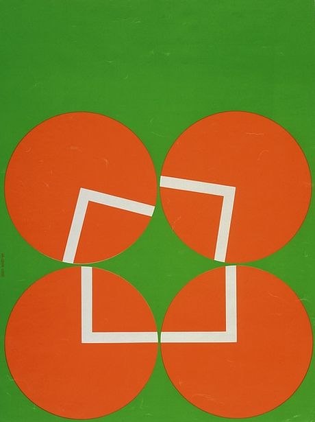 Jean Widmer, 1970 - Graphic Design    This is a really fun design. The ever-going movement of circles is altering the stability of squares, a theory of architecture probably of graphic design as well