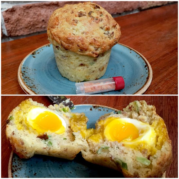 """""""The Rebel Within"""" at Craftman and Wolves in #SanFrancisco  - a soft boiled egg in an asiago cheese, sausage and green onion muffin #food"""
