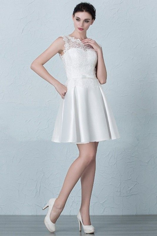 1d2e0f38aaf Short Mini A Line Scoop Cap Sleeve Corset White Lace Satin Prom Homecoming  Dress With Bow