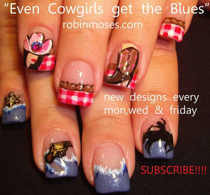 Nail-art by Robin Moses: cowgirl nails, red and blue nail, western nail, country nail, renaissance fair nail, autumn nail 2011, girl nail, nailsmag, wizard nail, merlin nail, cowboy boot nail, even cowgirls get the blues nail,