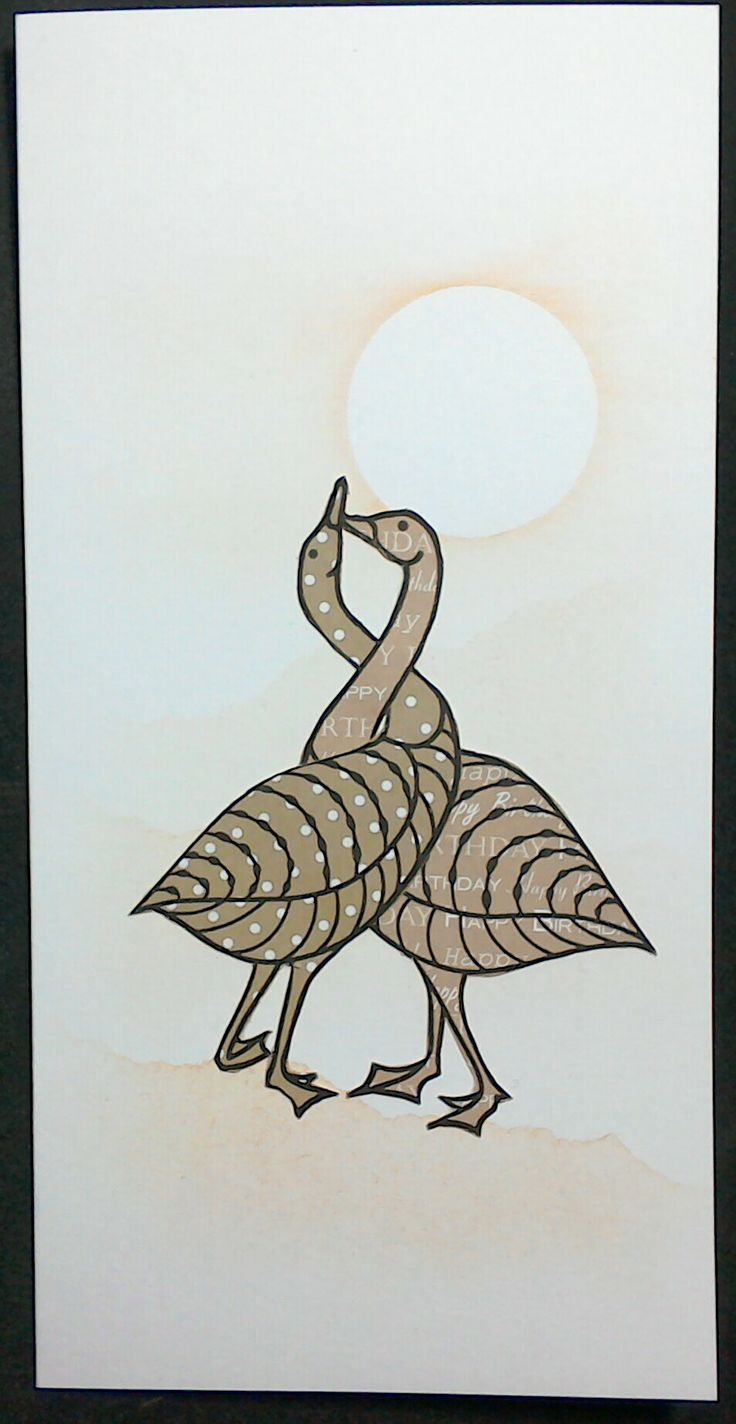 Claritystamp geese stamps on Anna Marie Designs patterned papers - by Lynne Lee