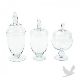 Candy Buffet Jars - Candy Jars Set - Glass Apothecary Jars (Set of 3) = $9.99/Vase