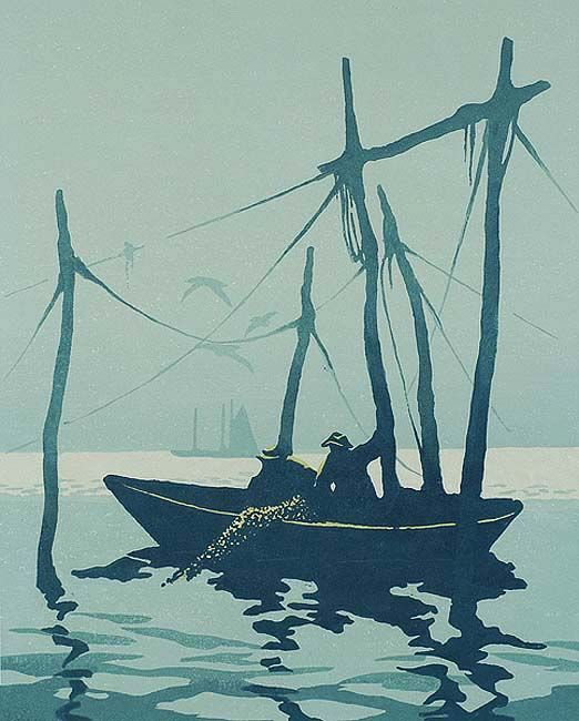 "Tod Lindenmuth - ""Low Tide at the Weir"", linoleum cut printed in colours, undated (circa 1920)"