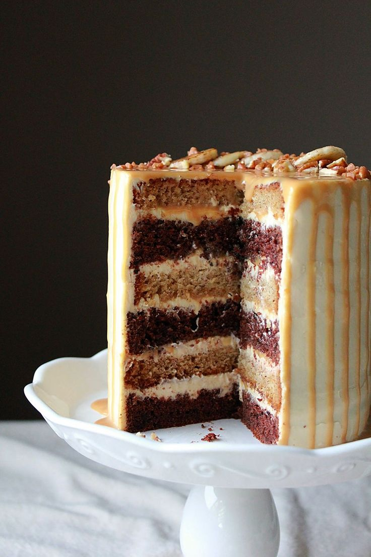 Banana Chocolate Cake with Dulce De Leche Cream Cheese Frosting