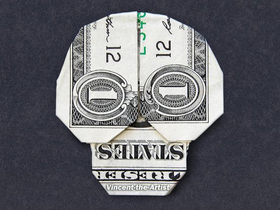 Dollar Bill Origami SKULL - Great Gift Idea - Skeleton Made of Real Money