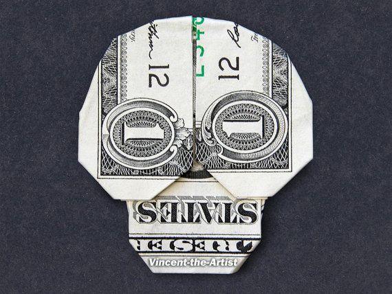 Dollar Bill Origami SKULL - Great Gift Idea - Skeleton Made of Real Money